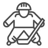 Hokey球员线象 冰球球员在白色隔绝的传染媒介例证 运动员概述样式设计 库存例证