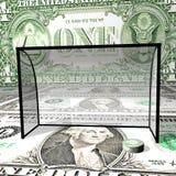 Hokey sul ghiaccio del dollaro, una rondella del dollaro in collari Immagini Stock Libere da Diritti