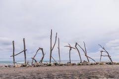 Hokitika drivvedtecken på den huvudsakliga stranden, Nya Zeeland Royaltyfri Bild
