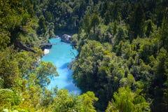 Hokitika Gorge in New Zealand. Narrow bridge spanning over the Hokitika Gorge in New Zealand`s south island royalty free stock image