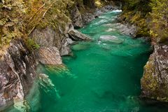 Hokitika Gorge stream in South Island of New Zealand. Touristic place Hokitika Gorge stream in South Island of New Zealand royalty free stock image