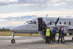 HOKITIKA NEWE ZEALAND 3 DE SETEMBRO: prepar plano de Air New Zealand Imagens de Stock Royalty Free