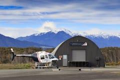 HOKITIKA NEWE ZEALAND-SEPTEMBER 3 :  anderson helicopter parking Royalty Free Stock Image
