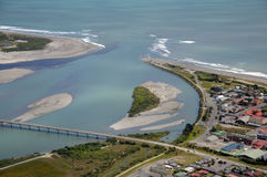Hokitika River mouth. Aerial of the mouth of the Hokitika River, Westland Royalty Free Stock Photos