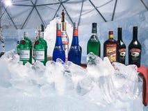 Hokkaido, Ιαπωνία - 13 Δεκεμβρίου 2016: Ένας δροσερός φραγμός πάγου καταλαμβάνει το μέσο Στοκ Φωτογραφία