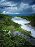 Hokkaido dramático Japão da cena da nuvem da manhã atrasada Fotografia de Stock Royalty Free