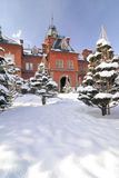 Hokkaido Government Building (Akarenga). During winter with snow covered foreground Royalty Free Stock Images