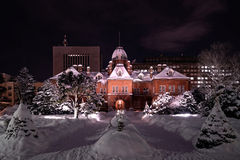 Hokkaido Government Building. Akarenga  during winter with snow covered Stock Photos