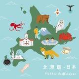 Hokkaido Illustration Map Stock Photos