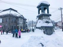 Hokkaido, Japan - 15 Dec, 2016: De toeristen lopen langs Sakai stock fotografie