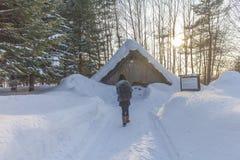 HOKKAIDO JAPAN-JAN 31 2016: Sikten av snöberget i Hokk Arkivbilder