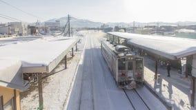 HOKKAIDO, JAPAN-JAN. 31, 2016: A train is approaching the train. A train is approaching the train station in Hokkaido. Hokkaido is the most northern main island Stock Images