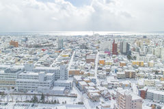 HOKKAIDO, JAPAN-JAN. 31, 2016: The view of Hakodate from the sta Royalty Free Stock Image