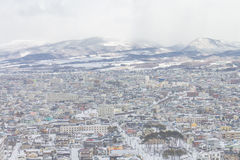 HOKKAIDO, JAPAN-JAN 31, 2016: A vista de Hakodate do sta Fotografia de Stock Royalty Free