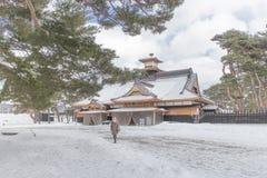 HOKKAIDO, JAPAN-JAN 31, 2016: Widok gwiazda kasztel w Hokkai Obraz Royalty Free