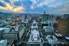 Hokkaido Japan. The main street & landmark park of Sapporo city of TV tower, Hokkaido, Japan Stock Photography