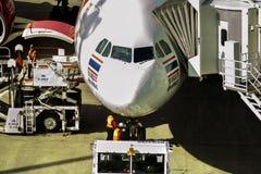 Hokkaido japan - october9,2018 : airport technician checking on stock photo