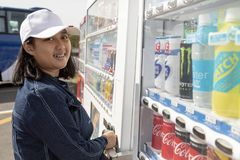 Hokkaido japan - october5,2018 : asian teenager toothy smiling f royalty free stock photography