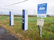 Hokkaido Japan - Oktober 20, 2017: Station för EV-biluppladdning på fotografering för bildbyråer