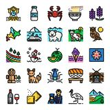 Hokkaido pixel perfect color line icons royalty free illustration