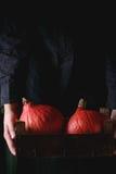 Hokkaido pumpkins in woman's hands Stock Photo