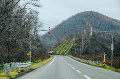 Hokkaido Road trip. Beautiful view along the road from Chitose Airport to Furano, a small town located in Hokkaido, Japan. Driving in Hokkaido is amazing, the Stock Photos