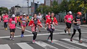 Hokkaido Sapporro Japón vigésimo de los corredores de maratón de agosto de 2017 de todas partes del mundo que recolecta en el eve Fotos de archivo