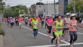 Hokkaido Sapporro Japan 20th of August 2017 Marathon Runners from all over the world gathering at the International event Royalty Free Stock Photo
