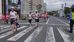 Hokkaido Sapporro Japan 20th of August 2017 Marathon Runners from all over the world gathering at the International event Royalty Free Stock Images