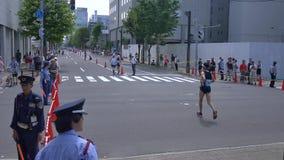 Hokkaido Sapporro Japan twintigste van de Marathonagenten van Augustus 2017 van zich over de hele wereld het verzamelen bij de In stock video
