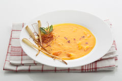 Hokkaido-soup on cloth napkin on white background Royalty Free Stock Photography