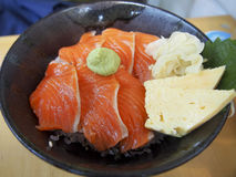 Hokkaidon. Is a Japanese dish consisting of raw salmon served over a bowl of rice Stock Photo