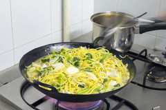 Hokkien Stir Fry Noodles in Wok Stock Images