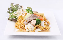 Hokkien noodle stri fried with satay sauce.Thai style food. Stock Photography