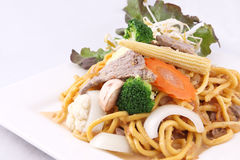 Hokkien noodle stri fried with satay sauce.Thai style food. Royalty Free Stock Image
