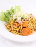 Hokkien noodles with oyster sauce and fresh vegetables. Stock Photos