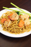 Hokkien noodles with prawn. Royalty Free Stock Image