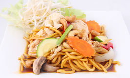 Hokkien noodles stir fried with chilli jam and cashew nuts, Thai Royalty Free Stock Image