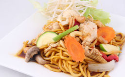 Hokkien noodles stir fried with chilli jam and cashew nuts, Thai Stock Photo