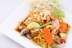 Hokkien noodles stir fried with chilli jam and cashew nuts, Thai Stock Image