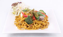 Hokkien noodles stir frief with Thai herb. Royalty Free Stock Photography