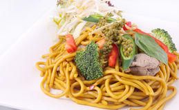Hokkien noodles stir frief with Thai herb. Stock Images