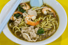 Hokkien Prawn Mee Soup Noodle Closeup. Hokkien Prawn Mee Soup Noodles with Pork and Vegetables Closeup stock image