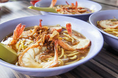 Hokkien Soup Prawn Noodles Bowls Closeup. Hokkien Soup Prawn Noodles Bowls in Singapore Hawker Stall Closeup royalty free stock images