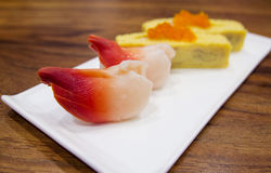 Hokkigai nigiri sushi japanese food Royalty Free Stock Image