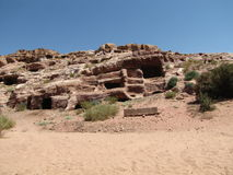 Hol in de rots, ruïnes Royalty-vrije Stock Foto's