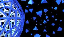 Hol Gebied met Chaotische Piramidedeeltjes Stock Afbeeldingen