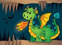 Hol met groene gelukkige draak stock illustratie