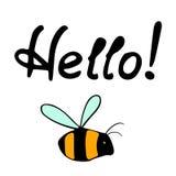 Hola abeja caligráfica de las letras Fotografía de archivo