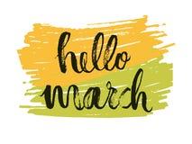 Hola al mes de marzo La primavera es un dibujo de la lengua del tiempo en fondo de color verde amarillo Vector Imagen de archivo